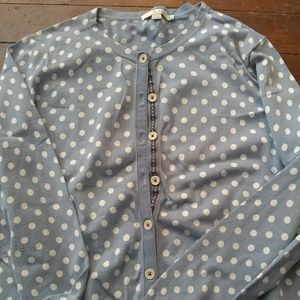 Boden blue and white polkadot sweater